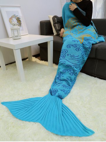 Store A Fish Leaping Over The River Design Knitted Mermaid Blanket Throw LAKE BLUE