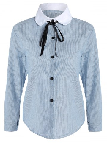 Pussy Bow Striped Button Up Blouse - Light Blue - Xl