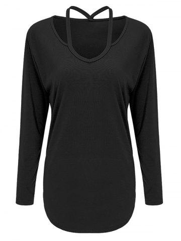 Affordable Cutout Long Sleeve Tee BLACK XL