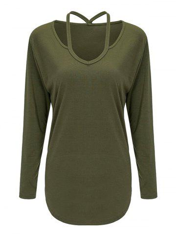 Outfits Cutout Long Sleeve Tee OLIVE GREEN L