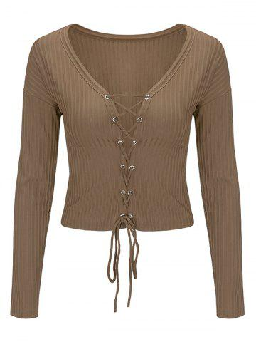 Lace Up Long Sleeve Cropped Top - Light Coffee - Xl