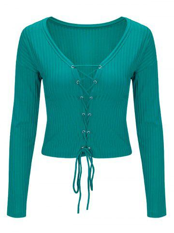 Fancy Lace Up Long Sleeve Cropped Top