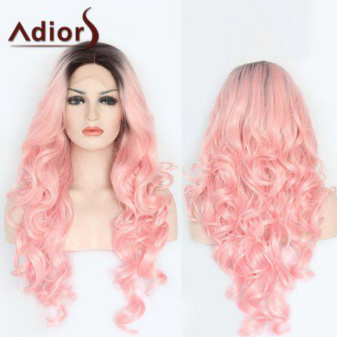 Chic Adiors Long Side Parting Colormix Wavy Lace Front Synthetic Wig - COLORMIX  Mobile