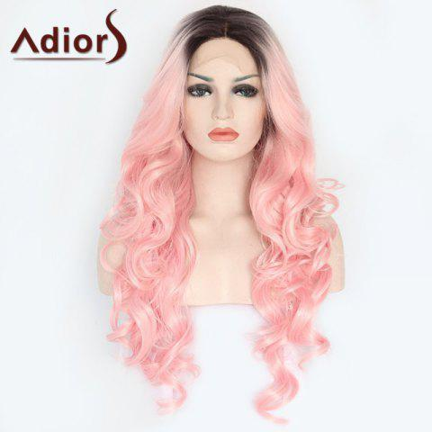 Latest Adiors Long Side Parting Colormix Wavy Lace Front Synthetic Wig - COLORMIX  Mobile