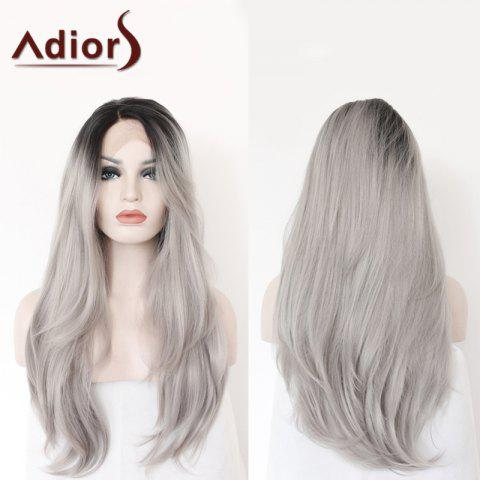 Trendy Adiors Long Side Parting Colormix Straight Lace Front Synthetic Wig - COLORMIX  Mobile