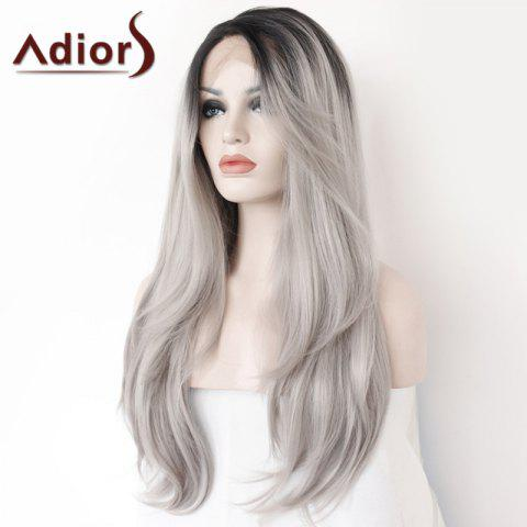 Hot Adiors Long Side Parting Colormix Straight Lace Front Synthetic Wig - COLORMIX  Mobile