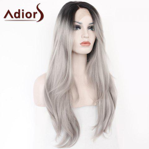 Fashion Adiors Long Side Parting Colormix Straight Lace Front Synthetic Wig - COLORMIX  Mobile