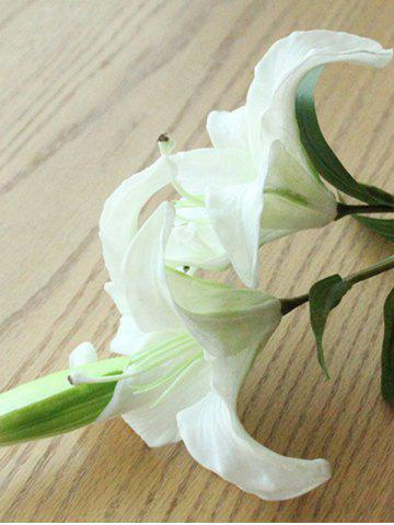 Affordable Artificial Blossoming Lily Branch - WHITE  Mobile