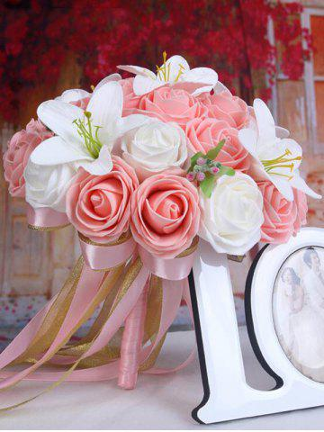 Fancy Artificial Rose and Lily Bridal Wedding Bouquets PINK/WHITE