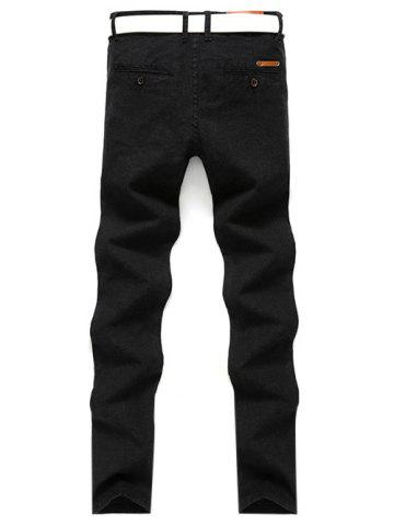 Sale Slim Fit Zip Fly Casual Pants - 31 BLACK Mobile