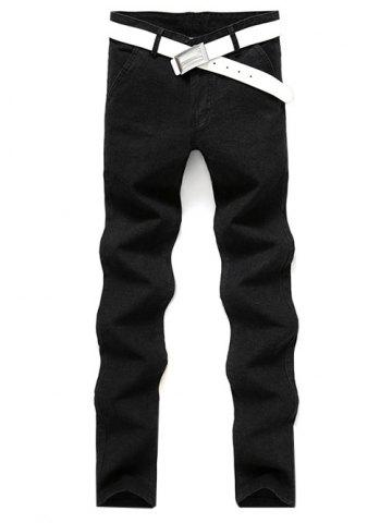 Outfits Slim Fit Zip Fly Casual Pants - 28 BLACK Mobile