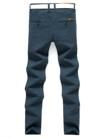 Latest Slim Fit Zip Fly Casual Pants - 31 LAKE BLUE Mobile