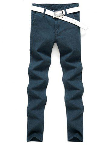 Latest Slim Fit Zip Fly Casual Pants - 32 LAKE BLUE Mobile