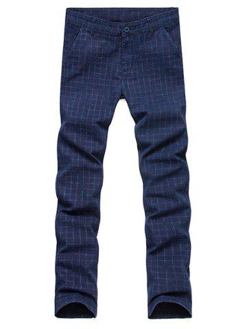 Discount Slim Fit Zip Fly Plaid Dress Pants - 34 BLUE Mobile