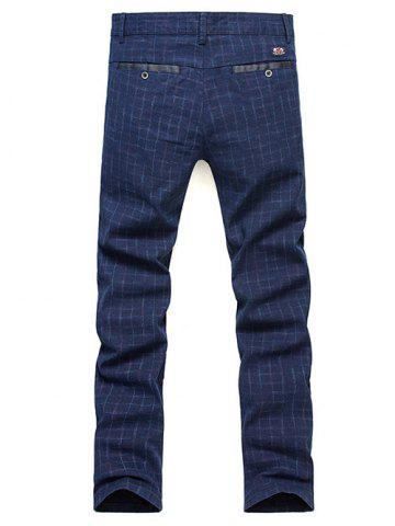Best Slim Fit Zip Fly Plaid Dress Pants - 32 BLUE Mobile