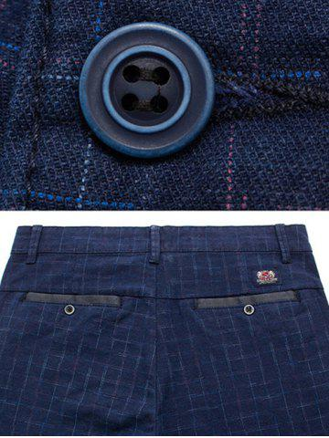 Outfit Slim Fit Zip Fly Plaid Dress Pants - 30 BLUE Mobile