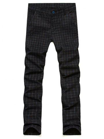 Shop Slim Fit Zip Fly Plaid Dress Pants - 33 BLACK Mobile