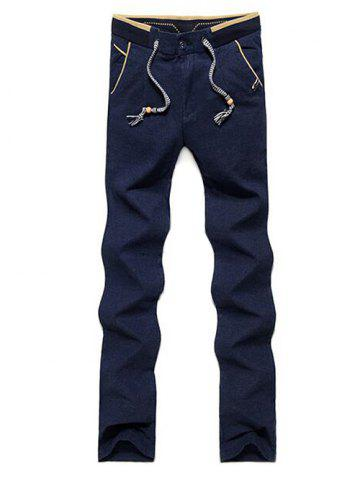 Buy Color Block Zipper Fly Drawstring Pants - 38 BLUE Mobile