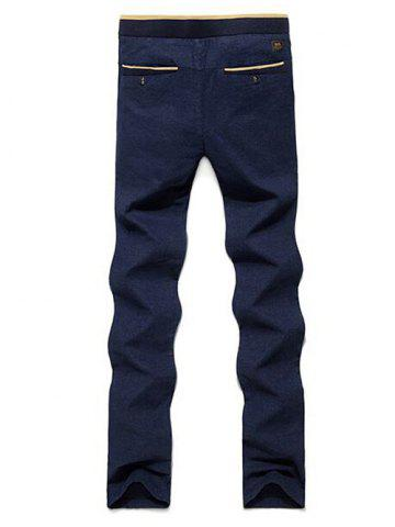 Fancy Color Block Zipper Fly Drawstring Pants - 31 BLUE Mobile