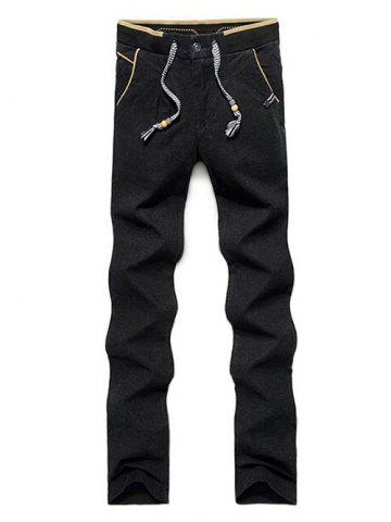 Fancy Color Block Zipper Fly Drawstring Pants - 34 BLACK Mobile
