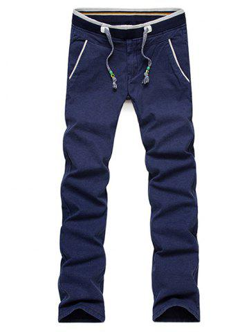 Trendy Casual Straight Leg Drawstring Pants - 33 BLUE Mobile