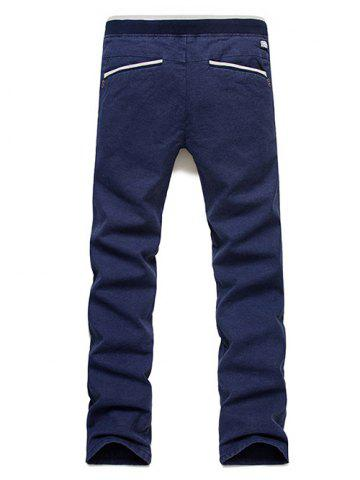 Online Casual Straight Leg Drawstring Pants - 31 BLUE Mobile