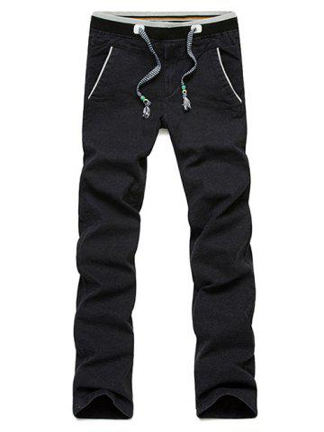 Fashion Casual Straight Leg Drawstring Pants - 38 BLACK Mobile
