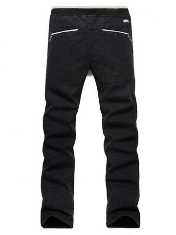Affordable Casual Straight Leg Drawstring Pants - 31 BLACK Mobile