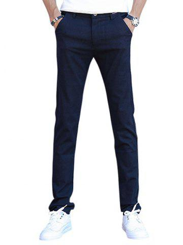 Chic Slim Zip Fly Casual Pants - 28 DEEP BLUE Mobile