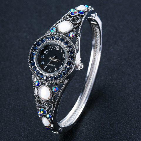 Affordable Fake Opal Hollowed Bracelet Watch - SILVER  Mobile