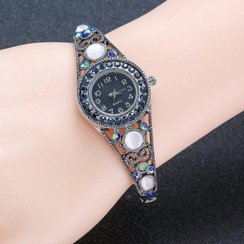 Latest Fake Opal Hollowed Bracelet Watch - SILVER  Mobile