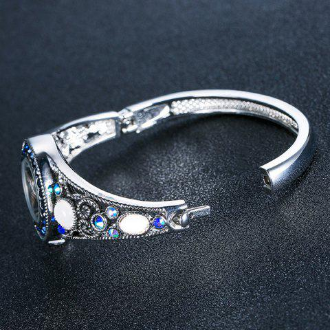 Store Fake Opal Hollowed Bracelet Watch - SILVER  Mobile