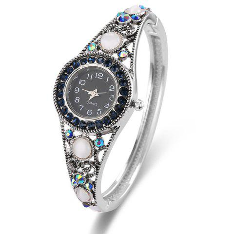 Chic Fake Opal Hollowed Bracelet Watch - SILVER  Mobile