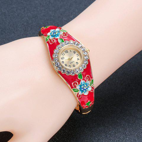Affordable Floral Painting Rhinestone Bracelet Watch - RED  Mobile