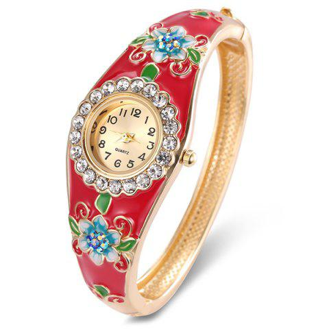 Latest Floral Painting Rhinestone Bracelet Watch - RED  Mobile