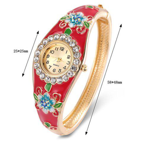 Cheap Floral Painting Rhinestone Bracelet Watch - RED  Mobile