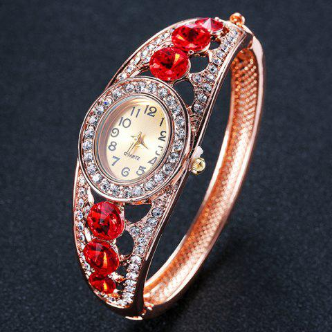 Sale Rhinestoned Hollow Out Bracelet Watch - RED  Mobile