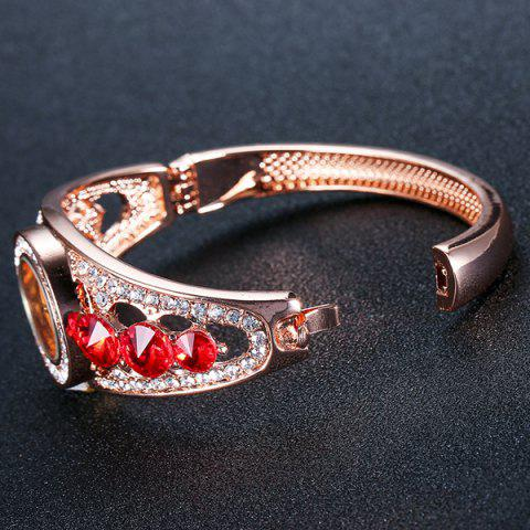 Online Rhinestoned Hollow Out Bracelet Watch - RED  Mobile
