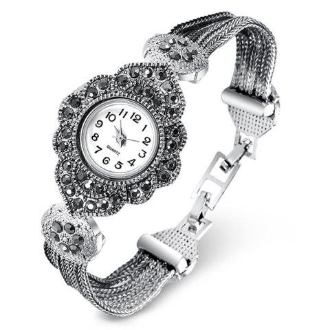 Latest Rhinestoned Flower Shape Bracelet Watch SILVER