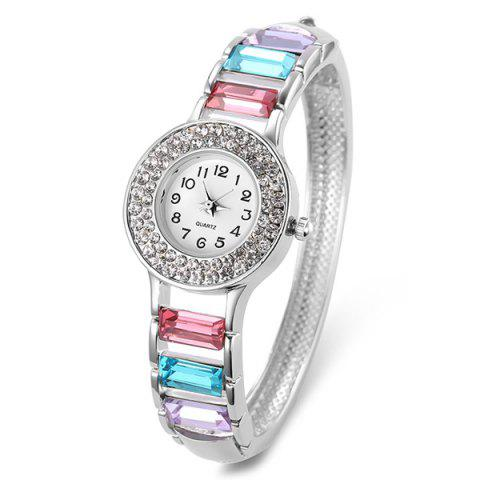 Unique Rhinestone Faux Gem Number Bracelet Watch WHITE