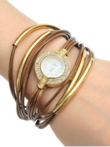 Rhinestone Artificial Leather Rope Bracelet Watch - Coffee