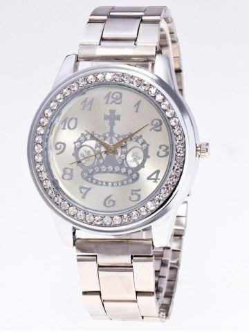Rhinestone Crown Stainless Steel Watch - Silver