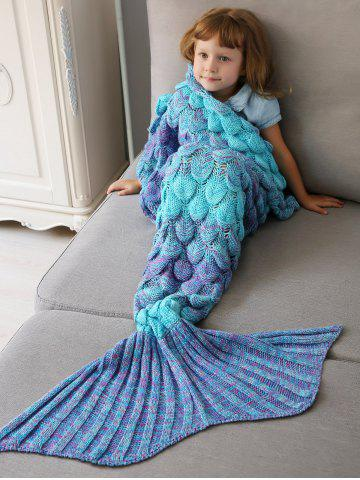 Home Decor Crochet Fish Scale Knit Mermaid Blanket Throw For Kids - Colormix