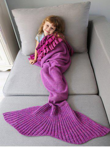 Home Decor Multilayered Ruffles Knit Mermaid Blanket Throw For Kids - Violet Rose - One Size