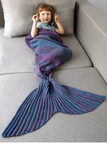 Sale Home Decor Ombre Crochet Knit Mermaid Blanket Throw For Kids - COLORMIX  Mobile