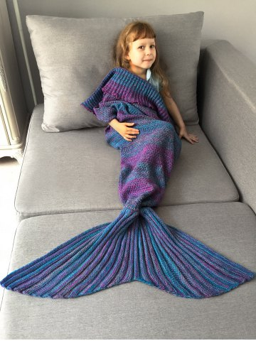 Shop Home Decor Ombre Crochet Knit Mermaid Blanket Throw For Kids - COLORMIX  Mobile
