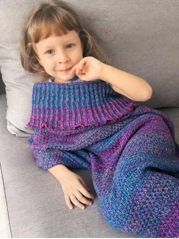 Chic Home Decor Ombre Crochet Knit Mermaid Blanket Throw For Kids - COLORMIX  Mobile