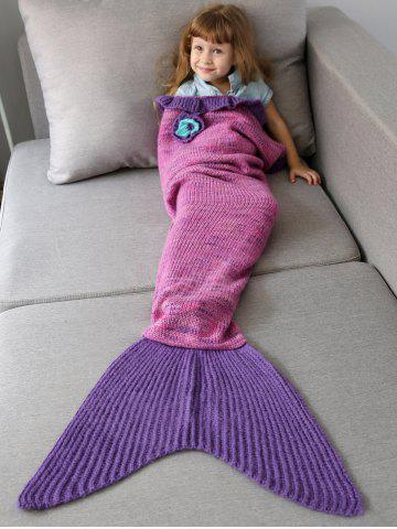 Sale Home Decor Handmade Flower Ruffles Knitted Mermaid Blanket Throws For Kids - PINK  Mobile