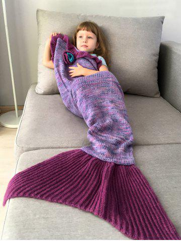 Home Decor Handmade Flower Ruffles Knitted Mermaid Blanket Throws For Kids - Purple - One Size