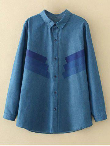 Plus Size Stripe Trim Denim Shirt - DENIM BLUE XL